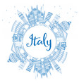 outline italy skyline with blue landmarks and vector image vector image