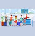 passengers in airport terminal queue vector image