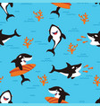 pattern with cartoon killer whales vector image