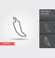 pepper line icon with editable stroke with shadow vector image vector image
