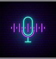 podcast neon sign bright neon mic icon vector image vector image
