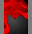 red black papercut waves abstract background vector image vector image