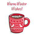 red mug with cute whiter ornament vector image vector image
