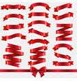 red ribbons isolated transparent background vector image vector image