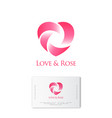 rose and heart logo flower shop identity vector image