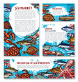 seafood posters of sketch fresh fish vector image vector image
