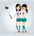 selfie school girl isolated vector image