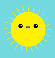 sun shining icon kawaii face cute cartoon funny vector image