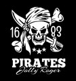 vintage label pirates skull vector image vector image