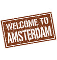 welcome to amsterdam stamp vector image vector image