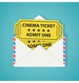 White envelope with two vintage cinema tickets vector image vector image