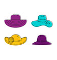 woman hat icon set color outline style vector image