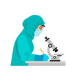 woman scientist in potective suit and mask looking vector image vector image
