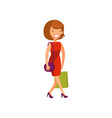 young elegant woman in red dress walking with vector image vector image