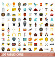 100 fable icons set flat style vector image