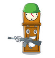 army grandfather clock character cartoon vector image