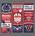 baseball game sport equipment trophy cups vector image vector image