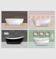 bathtub interior mockup set realistic style vector image vector image