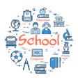 blue round school concept vector image vector image