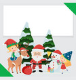 border template with santa and children vector image
