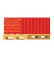 cargo container over pallets vector image
