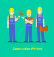 cartoon characters construction worker group card vector image