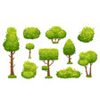cartoon trees and bushes green plants with vector image vector image