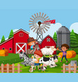 children at farmland with animals vector image