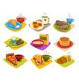classic breakfast ideas set cartoon vector image vector image