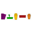 coffin icon set color outline style vector image