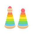 colorful toy pyramids with clown heads in red vector image vector image
