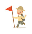 cute little boy in scout costume with backpack and vector image vector image