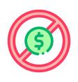 dollar banknote ban icon outline vector image vector image