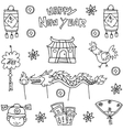 doodle chinese new year hand draw vector image vector image