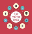 flat icons laptop router computer mouse and vector image vector image