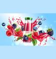 forest berry mix juicy splash motion vector image