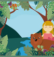 girl in the forest vector image