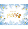 Gold christmas text greeting card on white snow