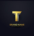 golden letter t logo concept design template vector image vector image