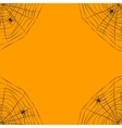 Halloween orange background with spider web vector image
