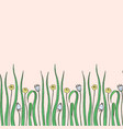 hand drawn grass with flowers vector image vector image
