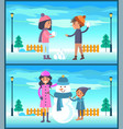 happy boy and girl play snowballs makes snowman vector image