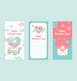 happy valentine day greeting card set with pink vector image vector image