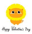 happy valentines day lion toy icon cute cartoon vector image
