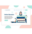 header template for website with people learning vector image