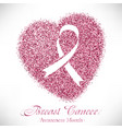 heart from pink glitter with ribbon inside vector image vector image