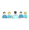 interview sketch talking with a job applicant vector image