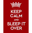 Keep Calm and Sleep It Over poster vector image vector image