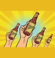 many hands with a bottle of beer vector image vector image