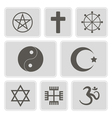 monochrome icons with religious symbols vector image vector image